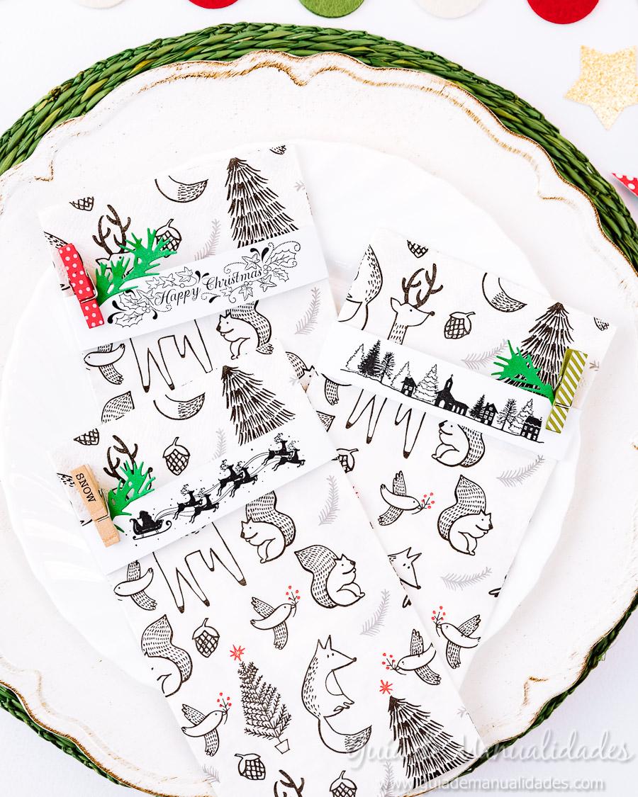 Servilleteros navideños con sellos 13