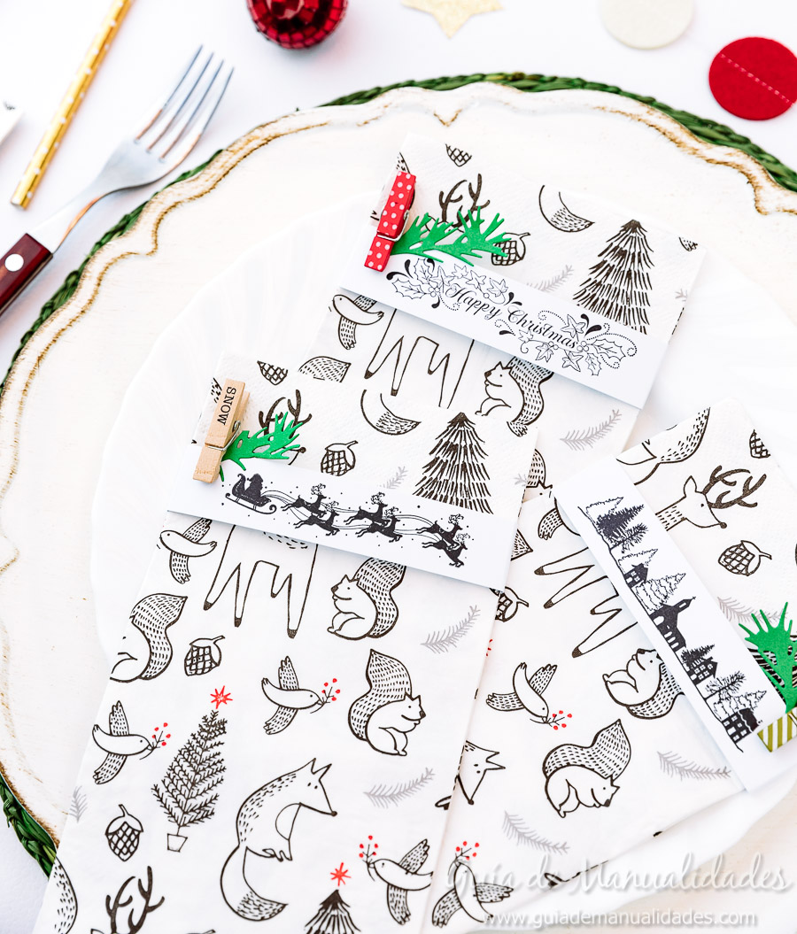 Servilleteros navideños con sellos 15