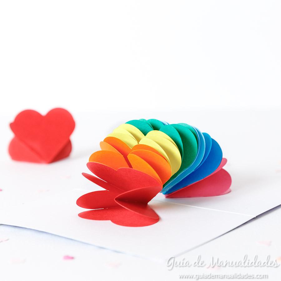 Tarjeta pop up corazones San Valentin 17