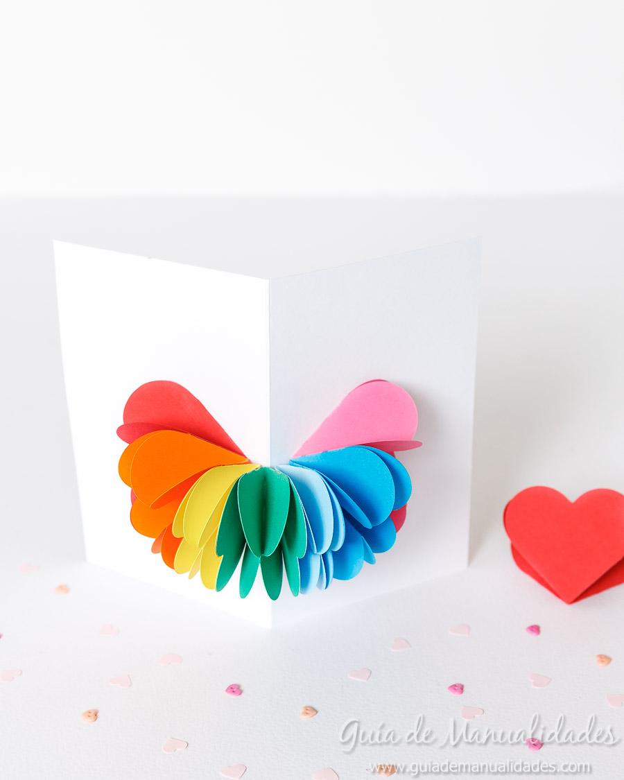 Tarjeta pop up corazones San Valentin 18