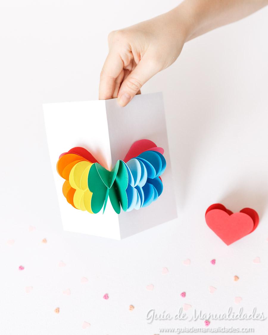 Tarjeta pop up corazones San Valentin 19