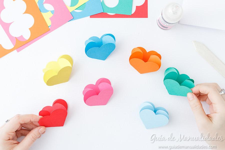 Tarjeta pop up corazones San Valentin 9