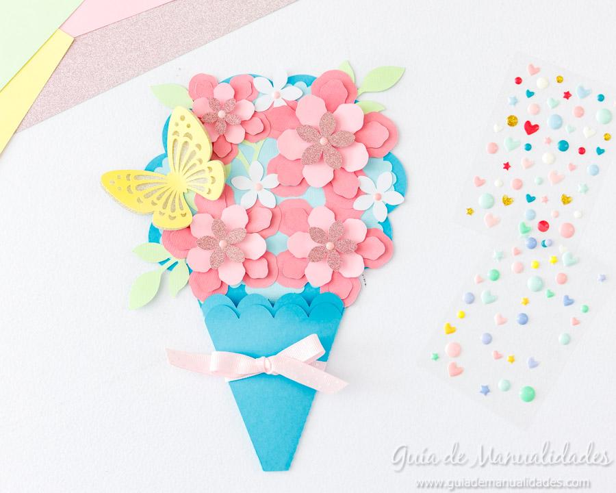 Tarjeta DIY ramo de flores 13