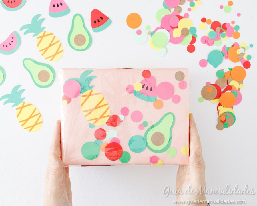 Frutas tropicales de papel para envolver regalos 12