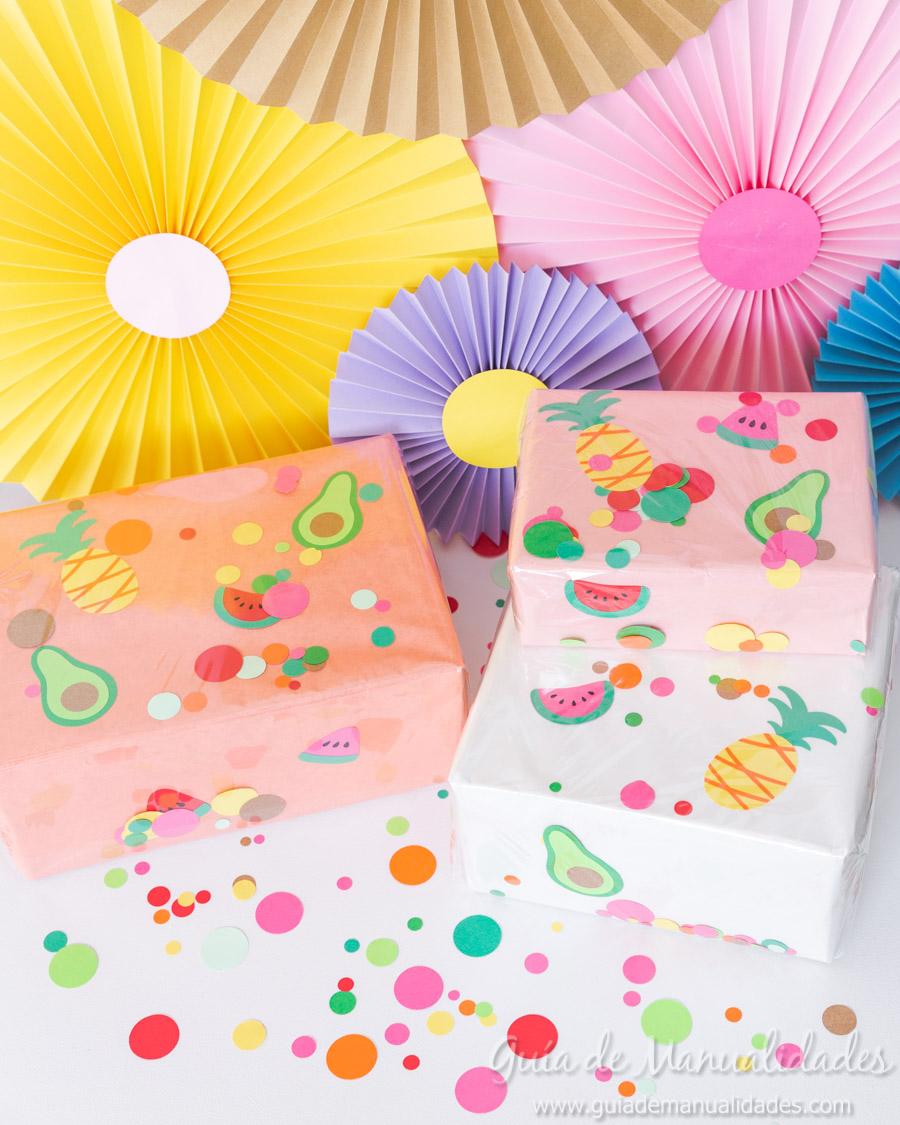 Frutas tropicales de papel para envolver regalos 13