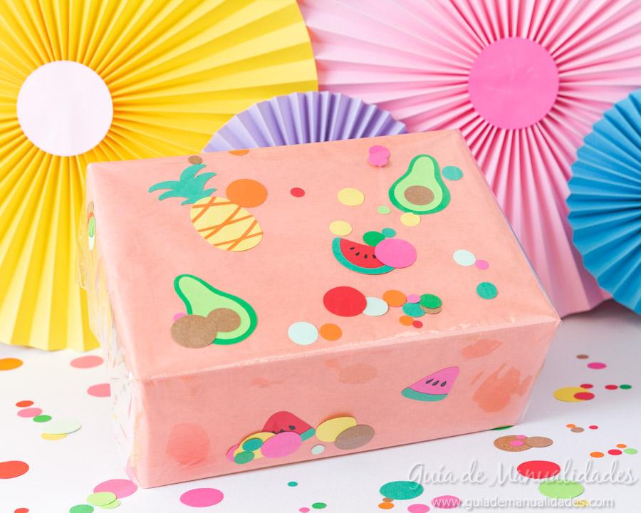 Frutas tropicales de papel para envolver regalos 14