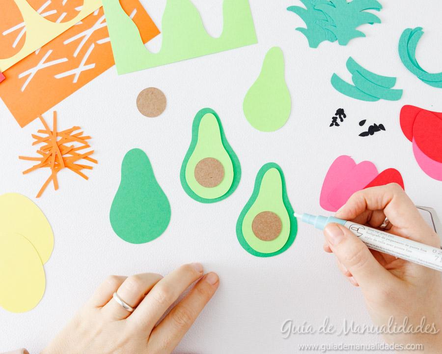 Frutas tropicales de papel para envolver regalos 5