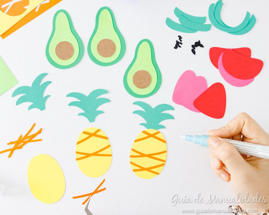 Frutas tropicales de papel para envolver regalos 6