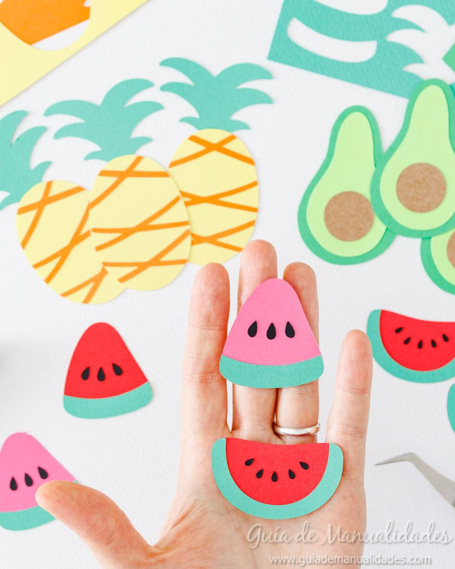 Frutas tropicales de papel para envolver regalos 7
