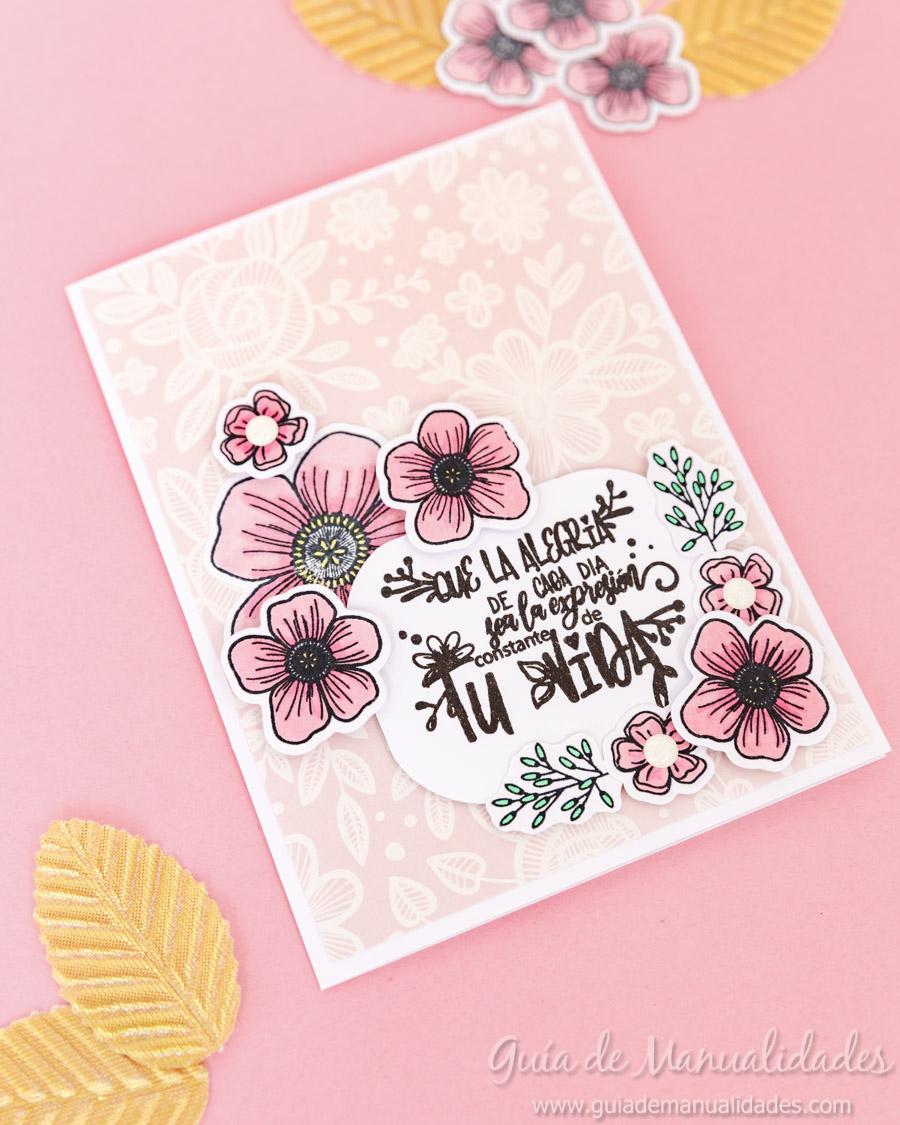 Tarjeta con flores y copics 1