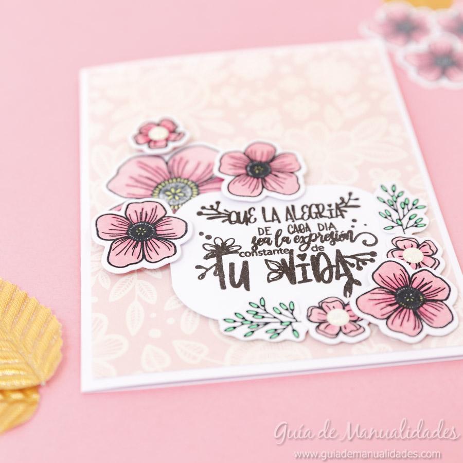 Tarjeta con flores y copics 11