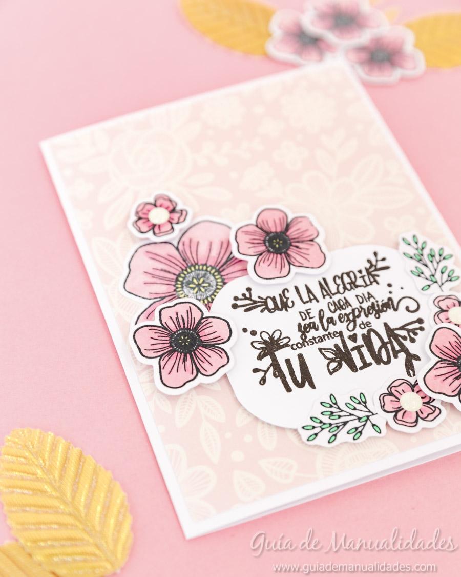 Tarjeta con flores y copics 13