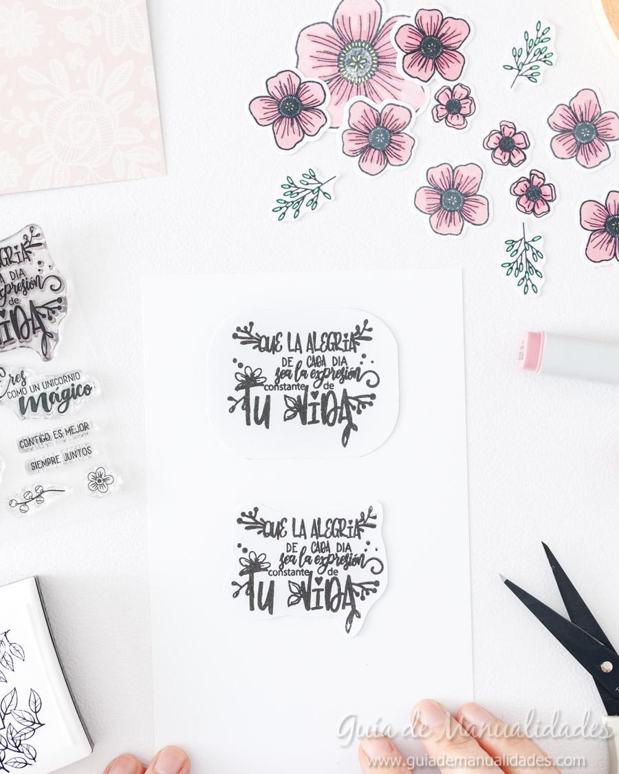 Tarjeta con flores y copics 7