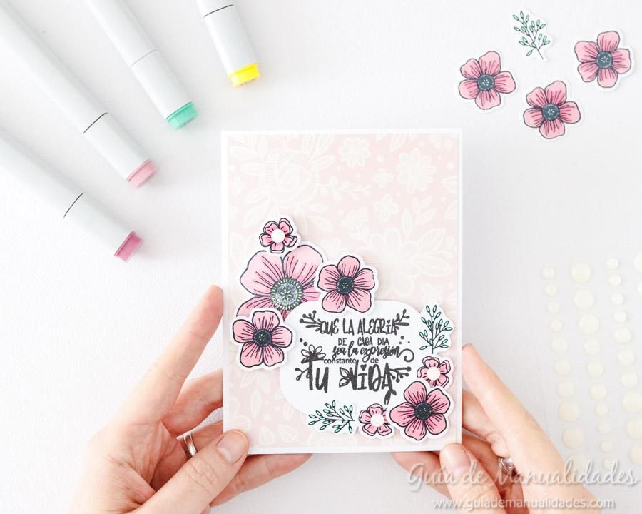 Tarjeta con flores y copics 9