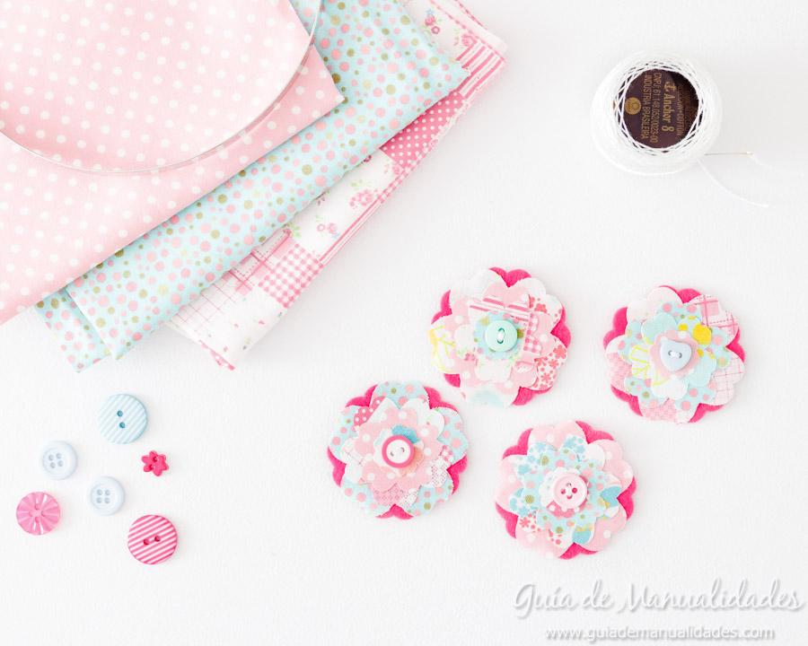 Diadema con flores de tela y fieltro 10