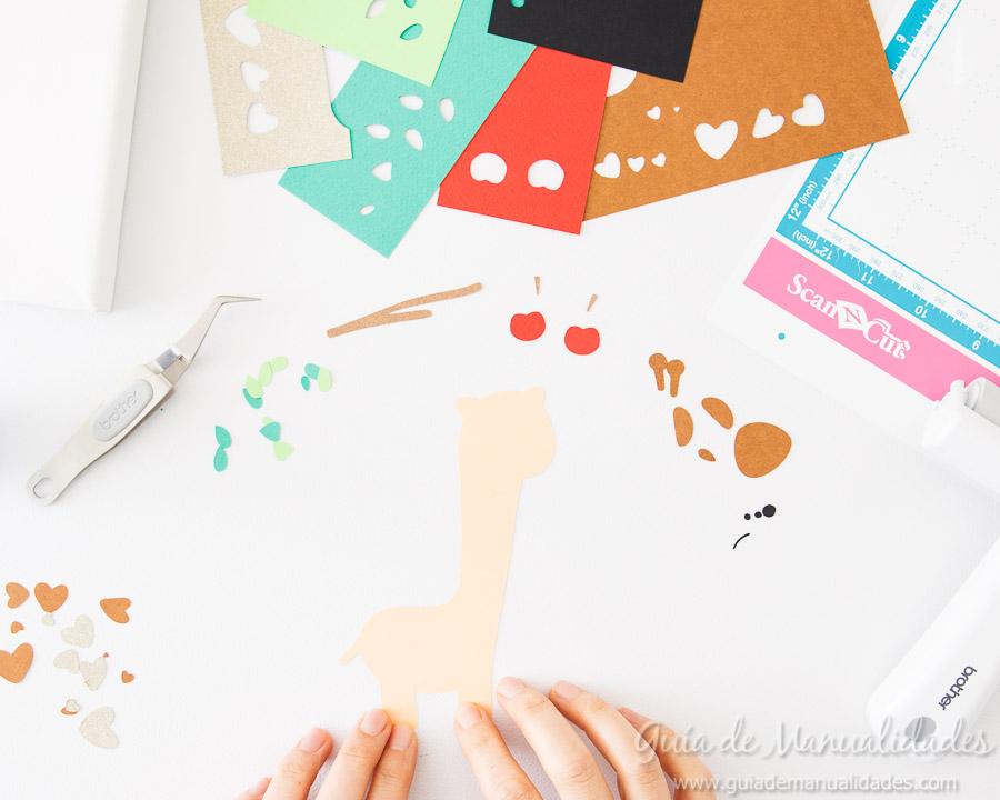 Cuadro DIY Jirafa de papel 3