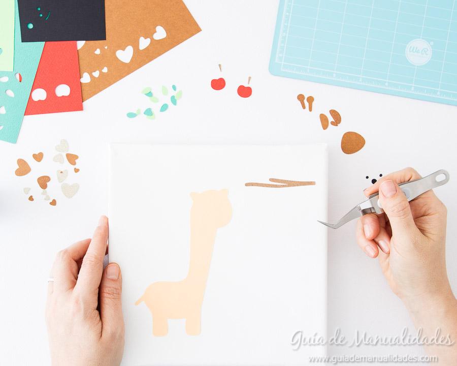 Cuadro DIY Jirafa de papel 4