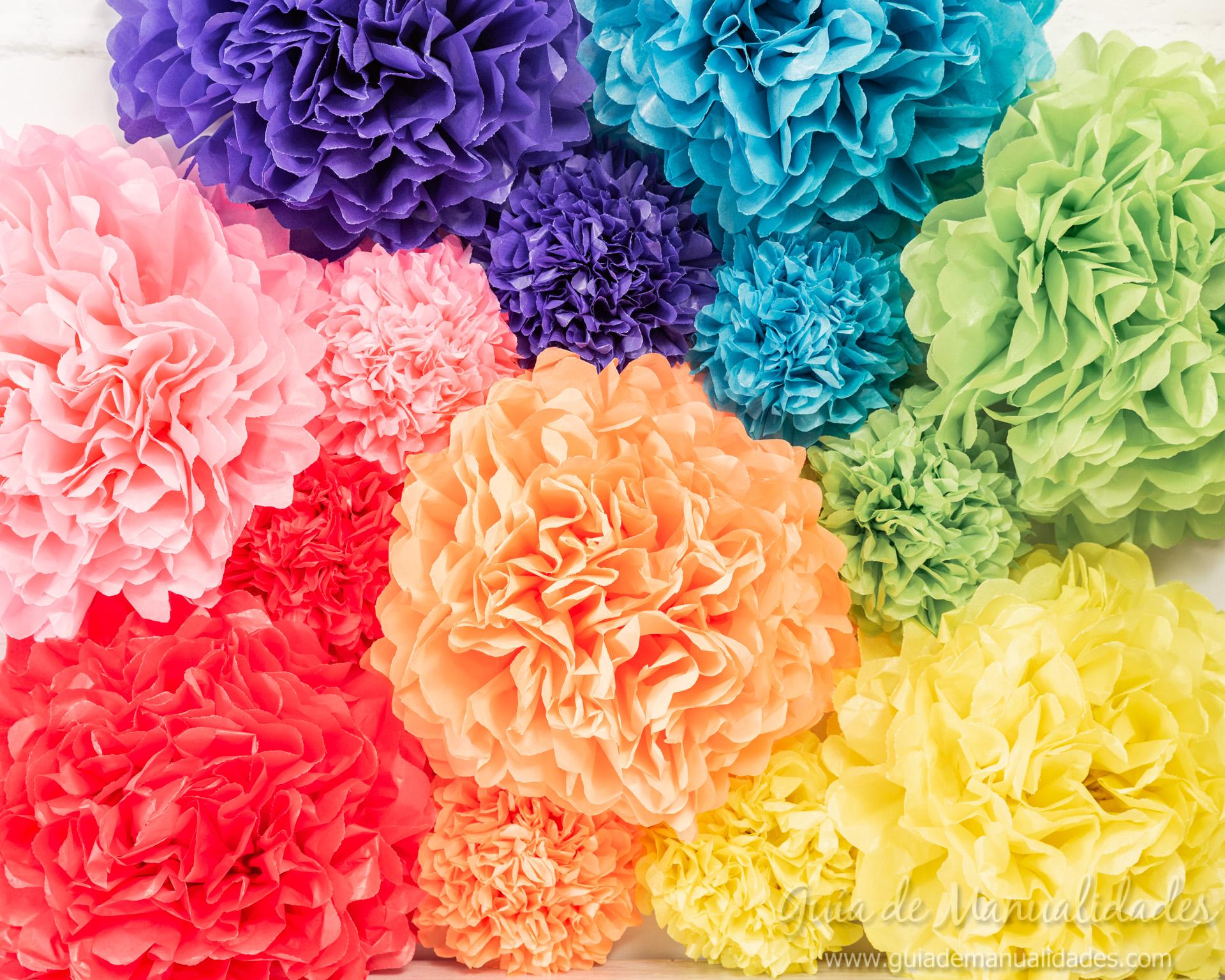 Flores pompón de papel 2