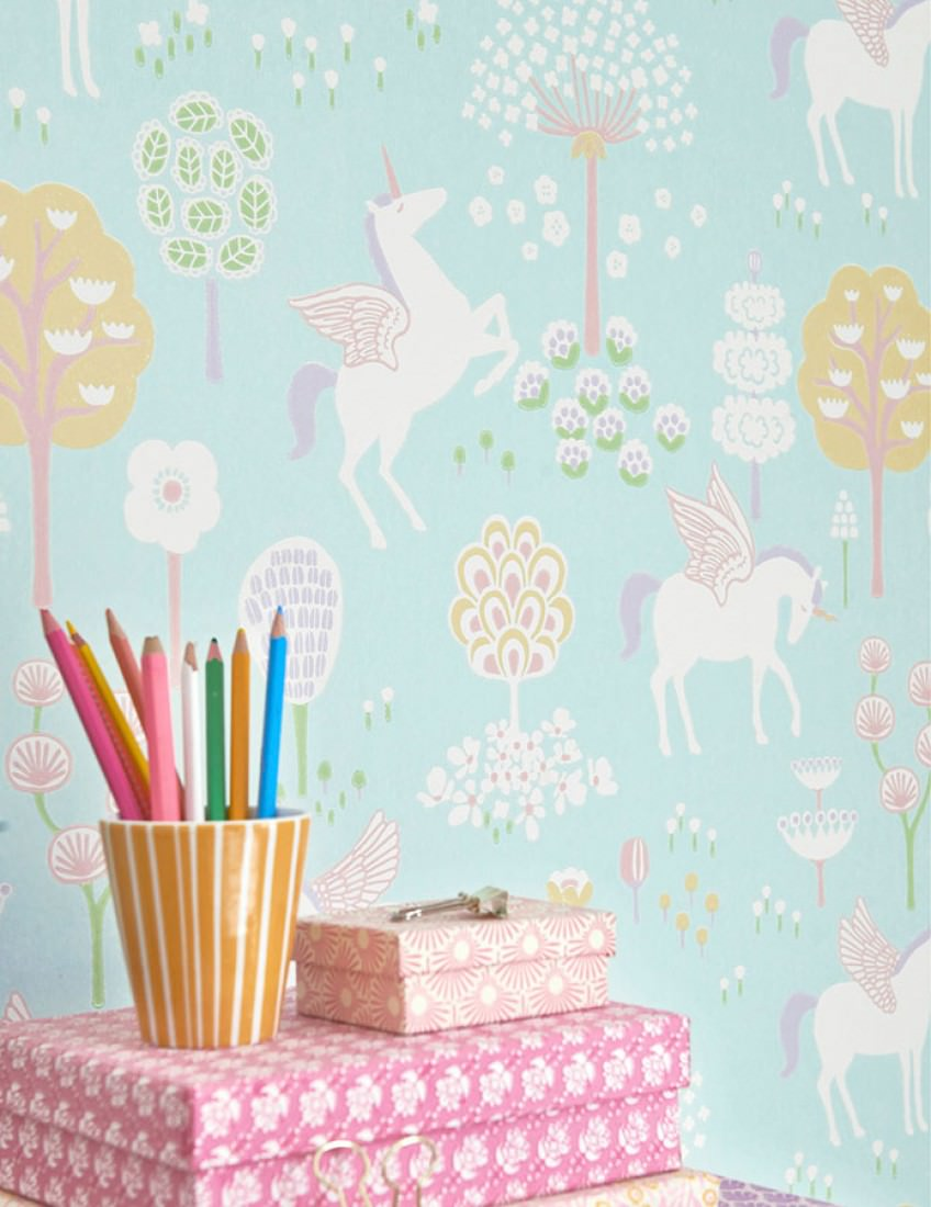Decoración del craftroom con papel pintado 7