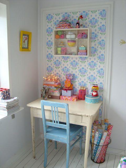 Decoración del craftroom con papel pintado 1a
