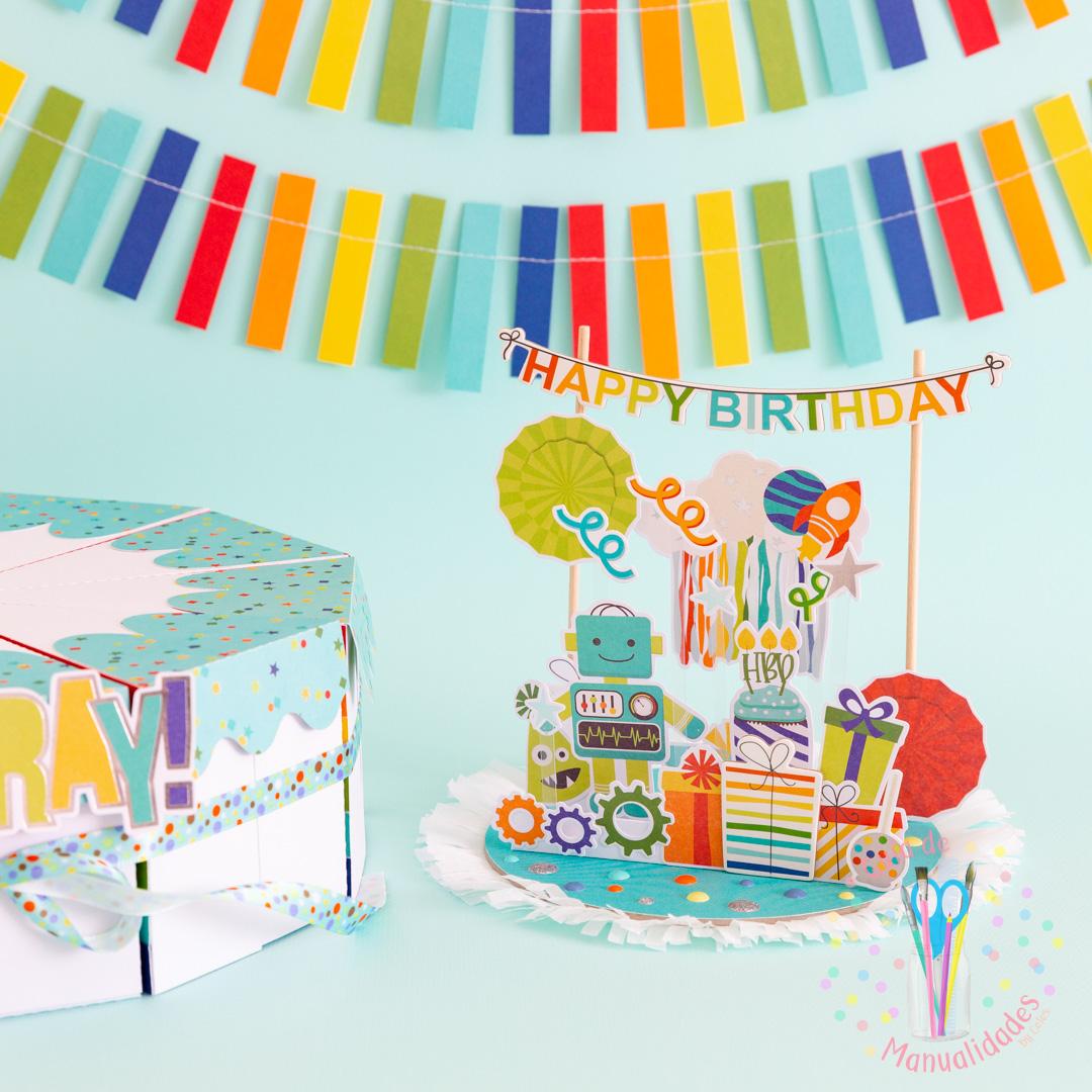 Torta Pastel de Cajitas de sorpresas dulces y topper DIY 13
