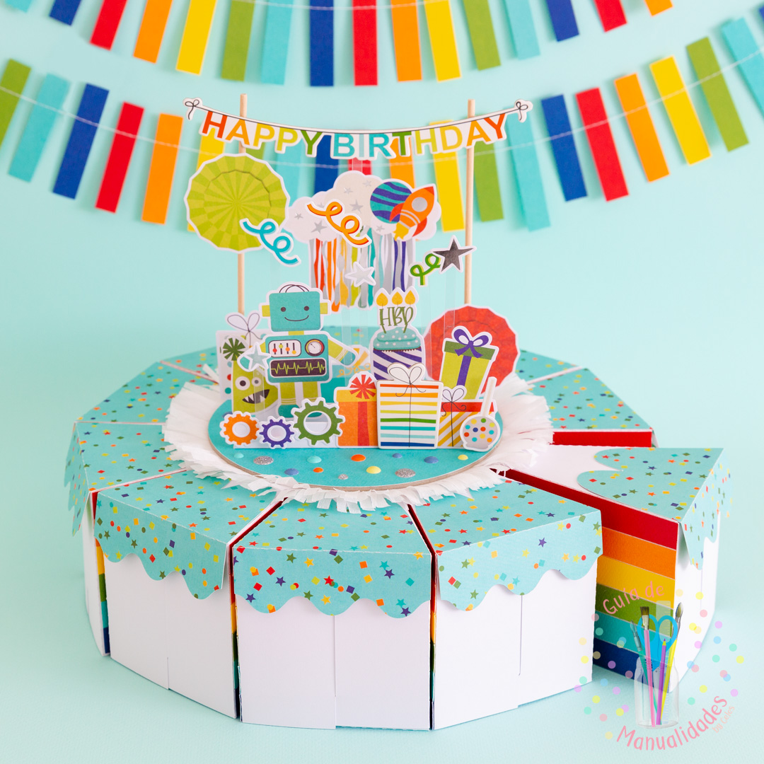 Torta Pastel de Cajitas de sorpresas dulces y topper DIY 14